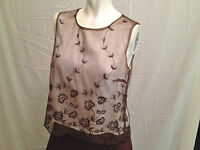 Blouse by ICE, Beige Brown Embroidered Lace Chiffon Top, Size Small, Feminine,