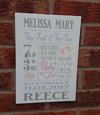 Shabby vintage chic newborn girl boy baby birth plaque sign baby shower newborn