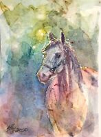 ACEO painting Original Horse Western Watercolor art Originals Listed By artist