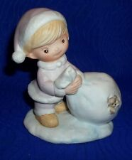 Adorable Porcelain Girl with Toy Sack Figurine By Homco #5613