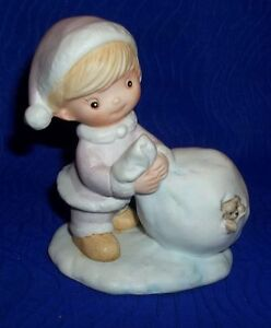 Adorable Porcelain Boy with Toy Sack Figurine By Homco #5613