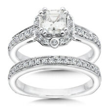 1.53Ct Diamond Hallmarked 14K White Gold Engagement Rings Solitaire Band Sets