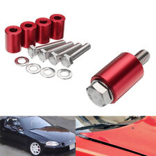 4 Pcs Red Aluminum Hood Risers Hood Vent Spacers Kit for 8mm Bolt Turbo Engine