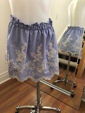 ARAM CAPRI Cotton Blue Floral Embroidery Mini Skirt Size S Retail $130