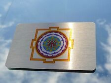 Lucky 'Si-Yantra' Wallet Insert Art on Brushed Metal 8.5x5.5cm