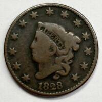 1828 Authentic Coronet Head Large Cent 1¢ Fine