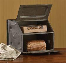 Antique Replica Vintage Style Black Star Metal Bread Box Unique Country Decor