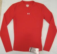 Womens Under Armour heatgear Compression Long Sleeve Shirt RED SM or Med NWT