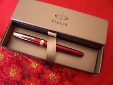 PARKER SONNET ROLLERBALL RED LACQUERED GOLD PLATED REFILL NERO - FRANCE MADE