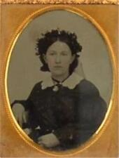 1/9TH PLATE TINTYPE YOUNG WOMAN SEATED-DESCENDENT OF COL. WHITNEY-MILLTOWN N.B.