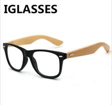 Classic Bamboo Wood temple Women men Eyeglass Frames RX Glasses Black Sunglasses