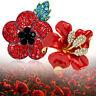 New Women Poppy Badges Brooch Red Crystal Flower Enamel Pins Poppies Diamond