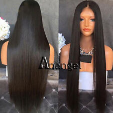 Anogol 1B Black Lace Front Wig Synthetic Cabelo Long Straight Wigs For Women