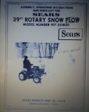 "Sears 39"" Snow Thrower Implement Garden Tractor Owner & Parts Manual 917.251820"
