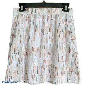 SanSoleil Skirt Skort Built in Shorts White Orange Tan Golf Clubs Graphic Sz M