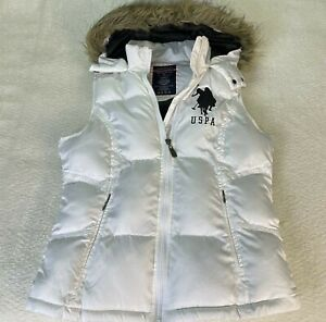US Polo Assn Womens Puffer Vest Size M White Hoodie Faux Fur Edging Full Zip