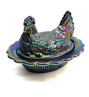Vintage Fenton Amethyst High Iridescent Carnival Glass Hen On Nest Covered Dish
