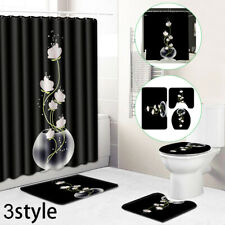 Toilet Cover Shower Curtain Mat Bathroom Rug Bath Anti Slip Floral Decoration