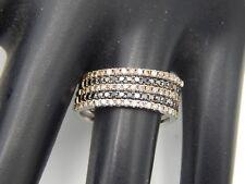 FIVE Black & Fancy Brown Diamond Stackable Band 1.0 tcw 14k WG Matching Rings