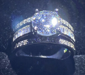 WIDE BAND SILVER RING+ CREATED White Sapphire  GEM SIZE N