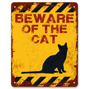Beware Of The Cat | Vintage Metal Garden Warning Sign | Pet Caution Sign