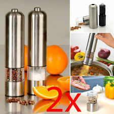 2 X LIGHT UP ELECTRIC SALT & PEPPER MILL STAINLESS STEEL ELECTRONIC GRINDER POTS
