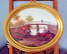 OVAL PICTURE OF DUTCH SCENE. PRINT OF OIL PICTURE OF FISHING SCENE