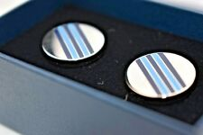New Brooks Brothers Stainless Blue Striped Steering Wheels Cuff Links