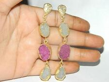 Gold Edged Druzy Agate Slice Earring,solar quartz earring,Natural Druzy Slice