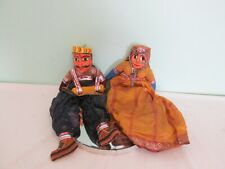 Pair Of Vintage Traditional Persian Style Painted Clay Dolls Puppets
