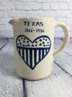Vintage Stoneware Pitcher Handcrafted Pottery TEXAS 1836-1986 Heart Stars Stripe
