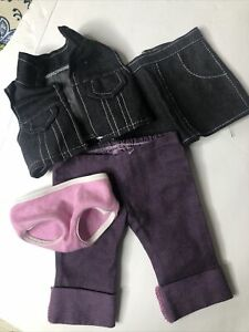 American Girl Doll Pink Panties & Purple Pants Also Unbranded Blck Skirt& Vest