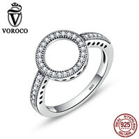 VOROCO European S925 Sterling Silver Halo Ring With Crystal Gem Women Jewellry