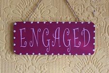 Lovely Decorative Handcrafted Wooden sign ENGAGED / VACANT (Lilac on Vamp)