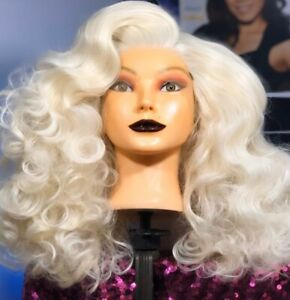 Big Voluminous Platinum Blonde Old Hollywood Waves Lacefront synthetic Wig