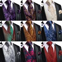 Silk Paisley Waistcoats Set UK Mens Formal Wedding Coats Business Slim Vest Suit