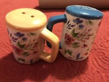 floral Jar salt and pepper shakers With Handles Blue And Peach Cute