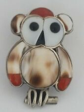 & Onyx Pin or Pendant Charm Vintage Zuni Sterling Silver Owl Shell Coral