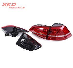LED Red Taillights Tail Lights For VW Golf MK7 MKVII 2013-2015