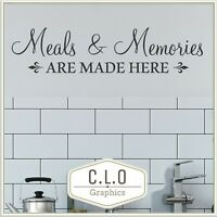 Meals & Memories... Kitchen Quote Wall Sticker Vinyl Art Transfer Decor Decal UK