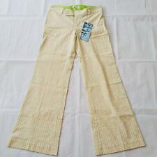 Rosasen Womens Golf Pants Sz 6 Yellow Green Striped Seersucker Fabric Trousers