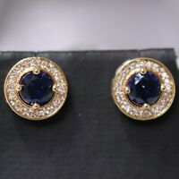 Vintage Antique Blue Sapphire Halo Earrings Gift Jewelry 14K Rose Gold Plated