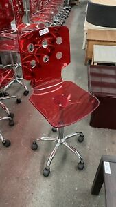 Gas Lift Clear Red Office Desk Chair