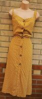 RIVER ISLAND MUSTARD YELLOW SPOTTED BUTTONED A LINE MIDI POLKA DOT DRESS 28