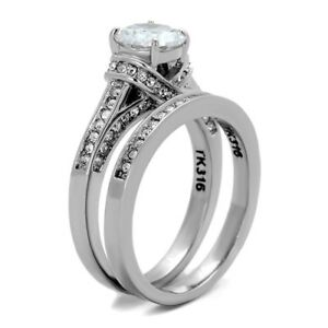 One Carat Round Cut CZ Detail Womens Stainless Steel Wedding Engagement Ring Set