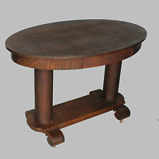 Antique Oval Oak Library Table or Small Desk
