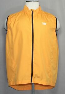 Nishiki Orange Black Full Zip Sleeveless Cycling Wind Jersey Men's Size XL