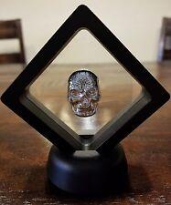 Framed 1 oz .999 Silver hand poured Celtic Skull art bar memento mori  skeleton