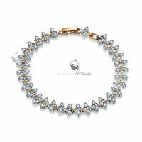 18k white yellow gold chain gf made with swarovski crystal bracelet sparkling