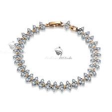 18k white yellow gold chain gf made with swarovski crystal bracelet sparkling